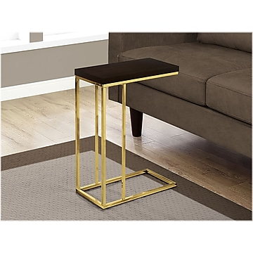 "Monarch Specialties Inc. 18.25"" x 10.25"" Accent Table, Espresso/Gold (I 3235)"