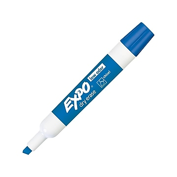 Expo Low Odor Dry Erase Markers, Chisel Point, Blue, Dozen (80003)