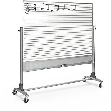 Best-Rite Music Line Platinum Reversible 4' x 8' Mobile Whiteboard (669RH-DM)